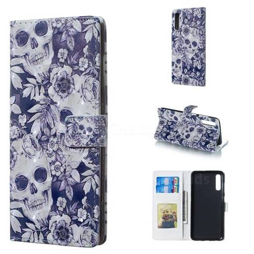 Skull Flower 3D Painted Leather Phone Wallet Case for Samsung Galaxy A70