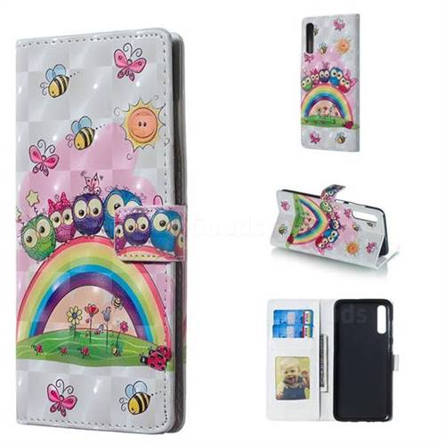 Rainbow Owl Family 3D Painted Leather Phone Wallet Case for Samsung Galaxy A70