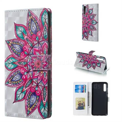 Mandara Flower 3D Painted Leather Phone Wallet Case for Samsung Galaxy A70