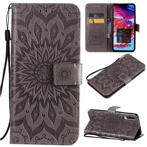 Embossing Sunflower Leather Wallet Case for Samsung Galaxy A70 - Gray