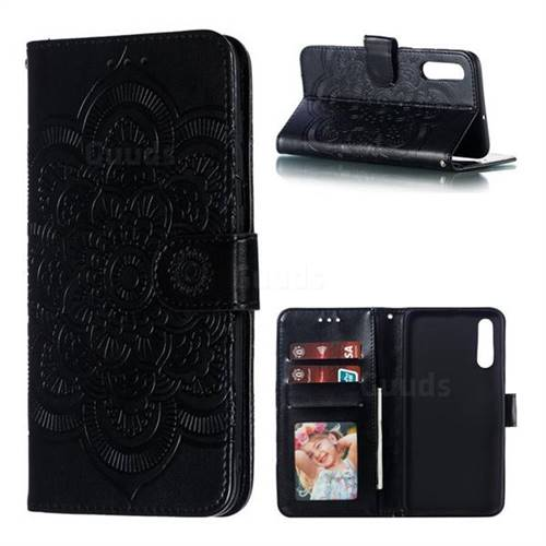 Intricate Embossing Datura Solar Leather Wallet Case for Samsung Galaxy A70 - Black