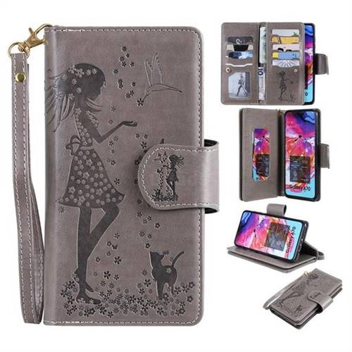Embossing Cat Girl 9 Card Leather Wallet Case for Samsung Galaxy A70 - Gray