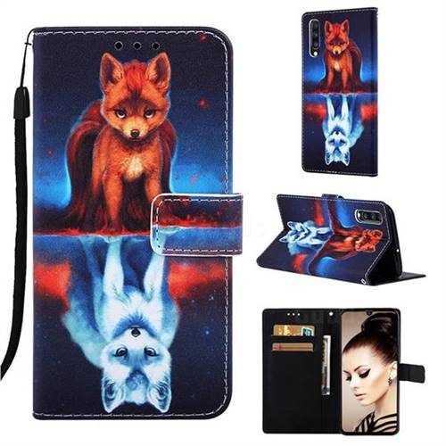 Water Fox Matte Leather Wallet Phone Case for Samsung Galaxy A70