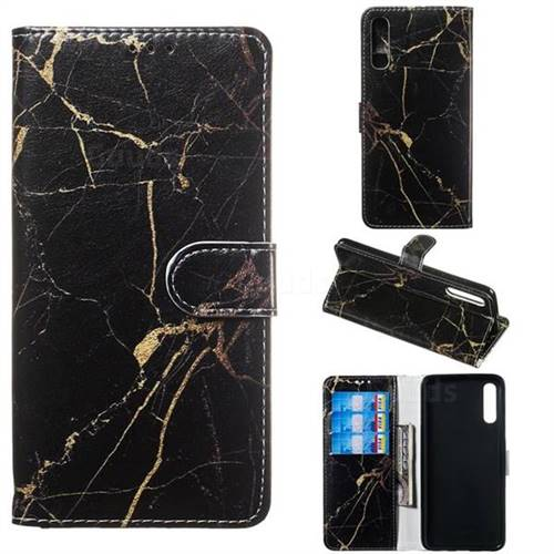 Black Gold Marble PU Leather Wallet Case for Samsung Galaxy A70