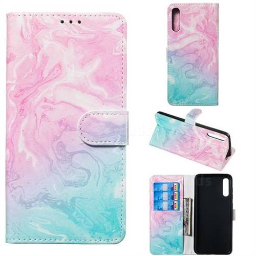 Pink Green Marble PU Leather Wallet Case for Samsung Galaxy A70