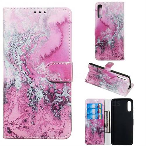 Pink Seawater PU Leather Wallet Case for Samsung Galaxy A70
