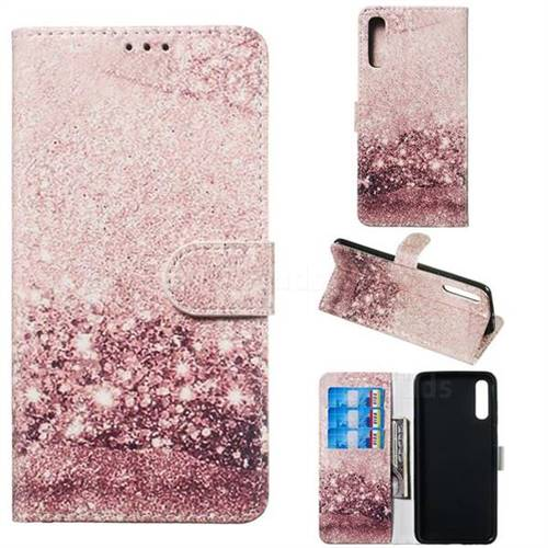Glittering Rose Gold PU Leather Wallet Case for Samsung Galaxy A70