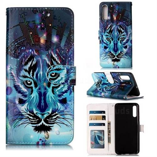 Ice Wolf 3D Relief Oil PU Leather Wallet Case for Samsung Galaxy A70