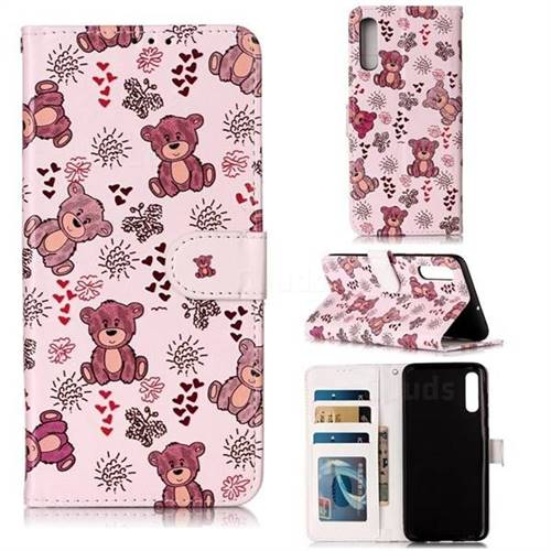 Cute Bear 3D Relief Oil PU Leather Wallet Case for Samsung Galaxy A70
