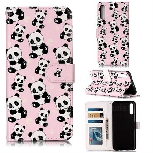 Cute Panda 3D Relief Oil PU Leather Wallet Case for Samsung Galaxy A70