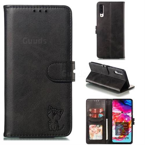 Embossing Happy Cat Leather Wallet Case for Samsung Galaxy A70 - Black