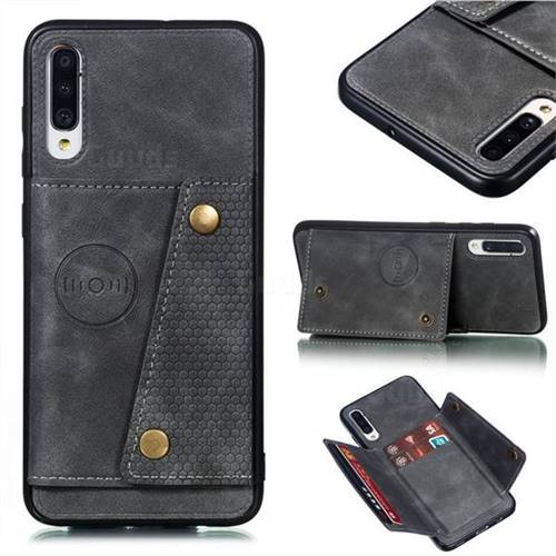 Retro Multifunction Card Slots Stand Leather Coated Phone Back Cover for Samsung Galaxy A70 - Gray