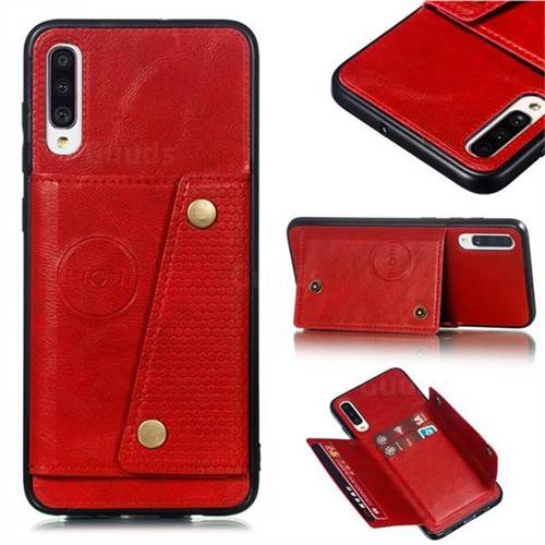 Retro Multifunction Card Slots Stand Leather Coated Phone Back Cover for Samsung Galaxy A70 - Red