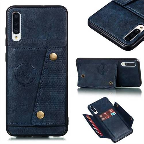 Retro Multifunction Card Slots Stand Leather Coated Phone Back Cover for Samsung Galaxy A70 - Blue
