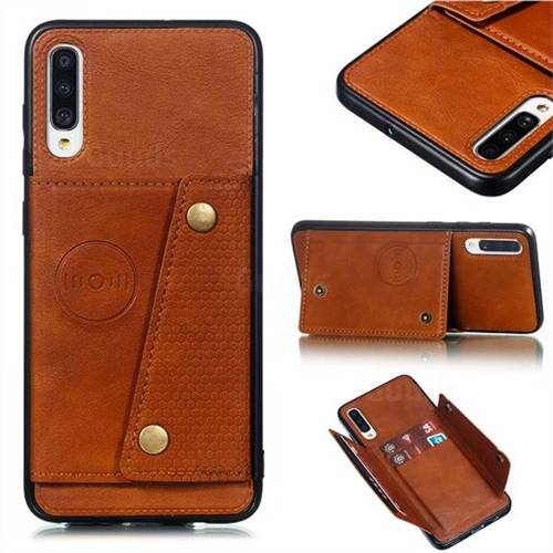 Retro Multifunction Card Slots Stand Leather Coated Phone Back Cover for Samsung Galaxy A70 - Brown