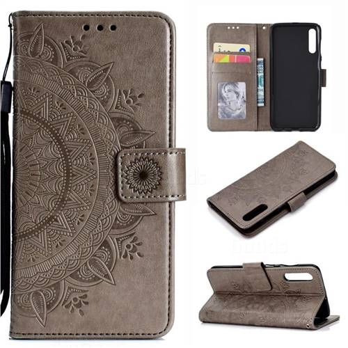 Intricate Embossing Datura Leather Wallet Case for Samsung Galaxy A70 - Gray
