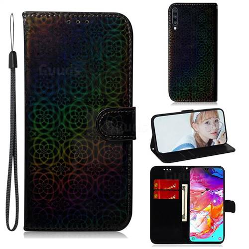 Laser Circle Shining Leather Wallet Phone Case for Samsung Galaxy A70 - Black