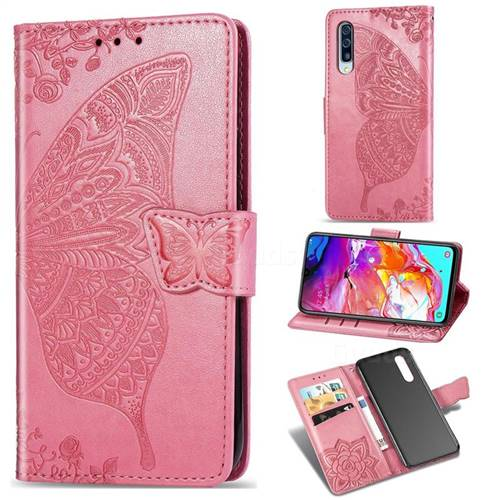 Embossing Mandala Flower Butterfly Leather Wallet Case for Samsung Galaxy A70 - Pink