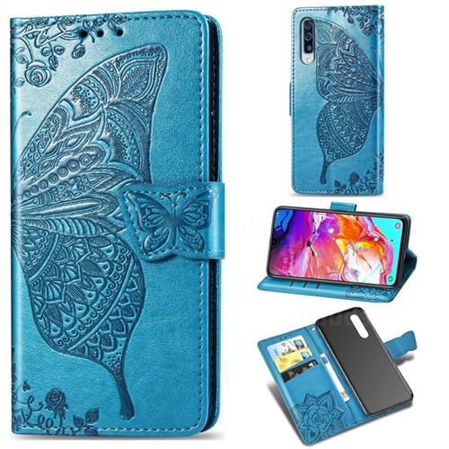Embossing Mandala Flower Butterfly Leather Wallet Case for Samsung Galaxy A70 - Blue