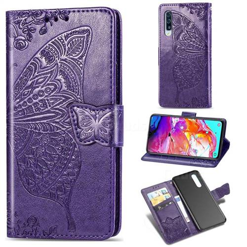 Embossing Mandala Flower Butterfly Leather Wallet Case for Samsung Galaxy A70 - Dark Purple