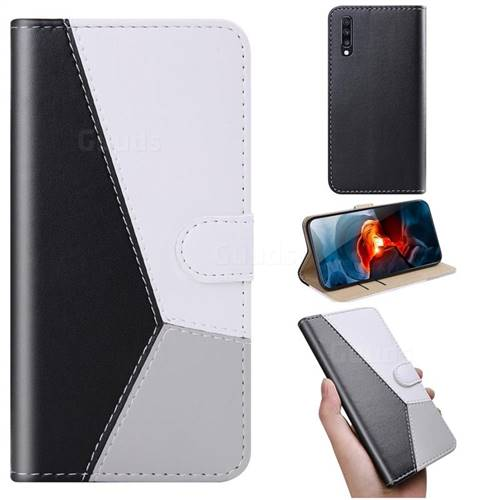 Tricolour Stitching Wallet Flip Cover for Samsung Galaxy A70 - Black