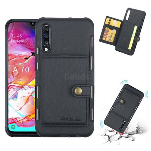 Brush Multi-function Leather Phone Case for Samsung Galaxy A70 - Black