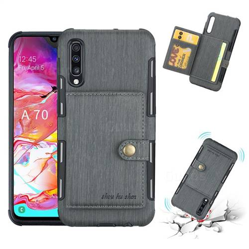 Brush Multi-function Leather Phone Case for Samsung Galaxy A70 - Gray