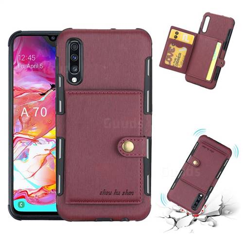 Brush Multi-function Leather Phone Case for Samsung Galaxy A70 - Wine Red