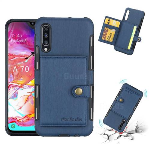 Brush Multi-function Leather Phone Case for Samsung Galaxy A70 - Blue