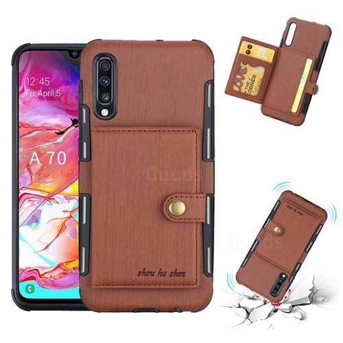 Brush Multi-function Leather Phone Case for Samsung Galaxy A70 - Brown
