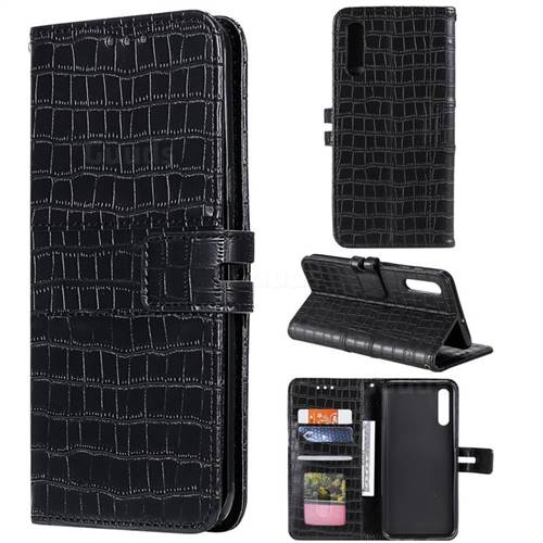 Luxury Crocodile Magnetic Leather Wallet Phone Case for Samsung Galaxy A70 - Black