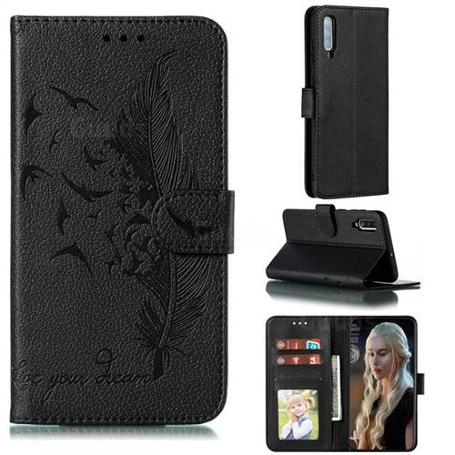 Intricate Embossing Lychee Feather Bird Leather Wallet Case for Samsung Galaxy A70 - Black