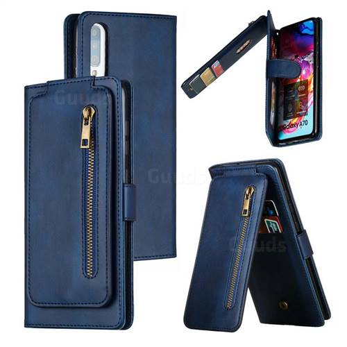Multifunction 9 Cards Leather Zipper Wallet Phone Case for Samsung Galaxy A70 - Blue