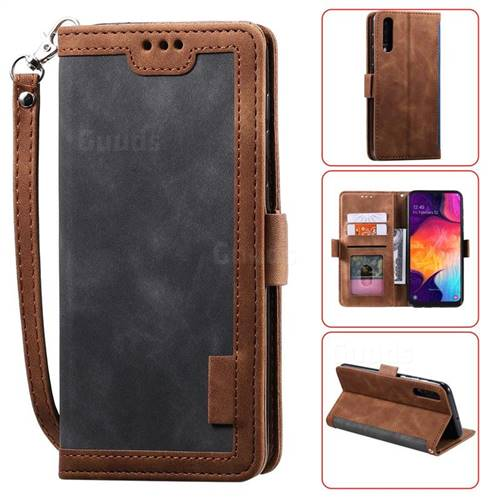 Luxury Retro Stitching Leather Wallet Phone Case for Samsung Galaxy A70 - Gray