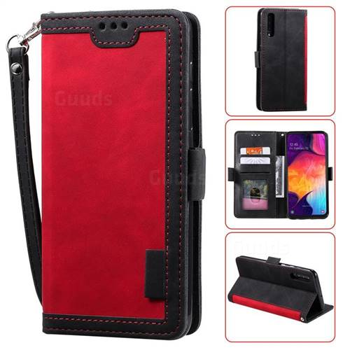 Luxury Retro Stitching Leather Wallet Phone Case for Samsung Galaxy A70 - Deep Red