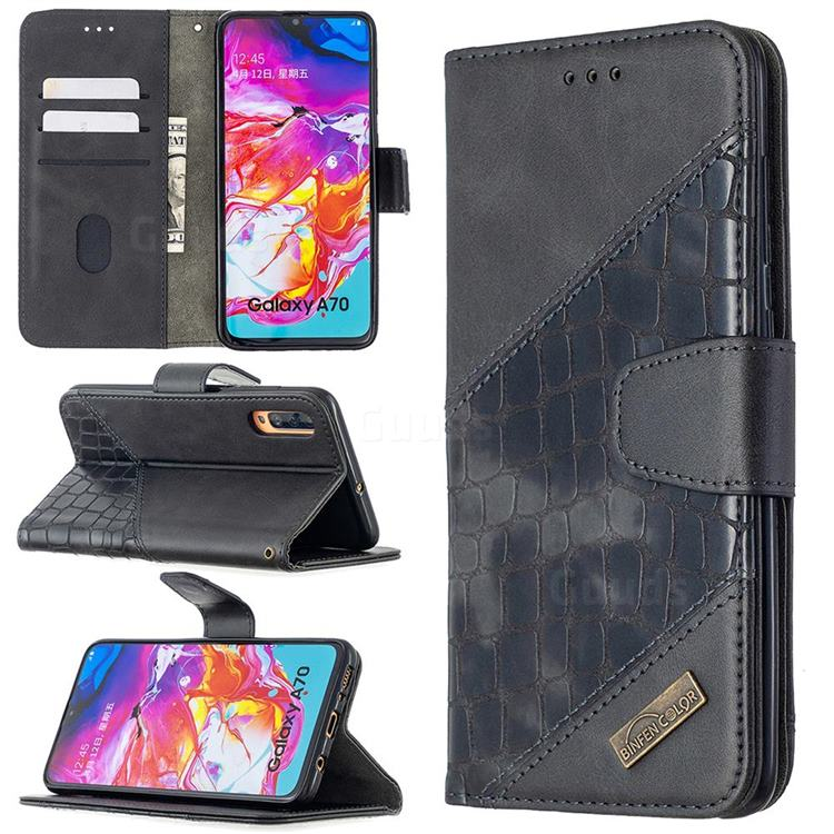 BinfenColor BF04 Color Block Stitching Crocodile Leather Case Cover for Samsung Galaxy A70 - Black