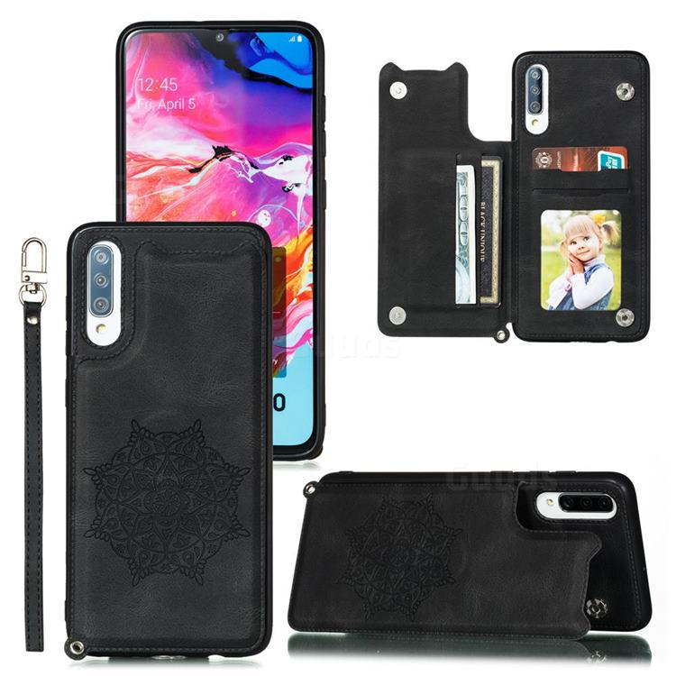Luxury Mandala Multi-function Magnetic Card Slots Stand Leather Back Cover for Samsung Galaxy A70 - Black