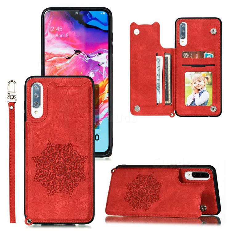 Luxury Mandala Multi-function Magnetic Card Slots Stand Leather Back Cover for Samsung Galaxy A70 - Red