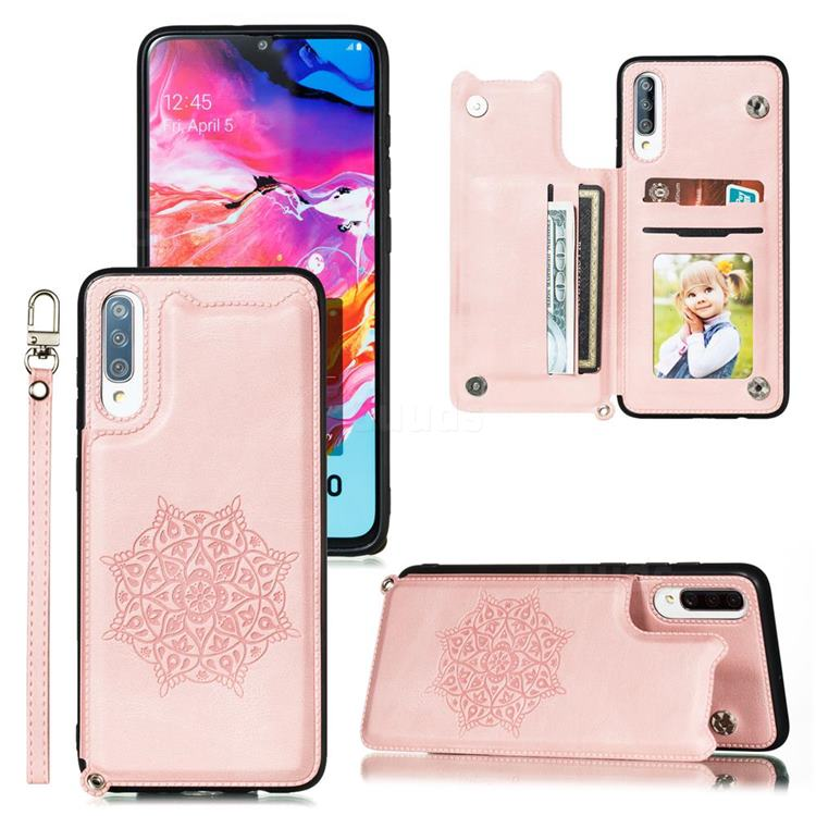Luxury Mandala Multi-function Magnetic Card Slots Stand Leather Back Cover for Samsung Galaxy A70 - Rose Gold