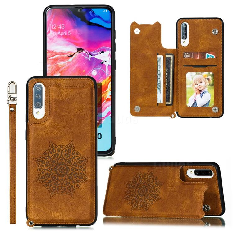 Luxury Mandala Multi-function Magnetic Card Slots Stand Leather Back Cover for Samsung Galaxy A70 - Brown