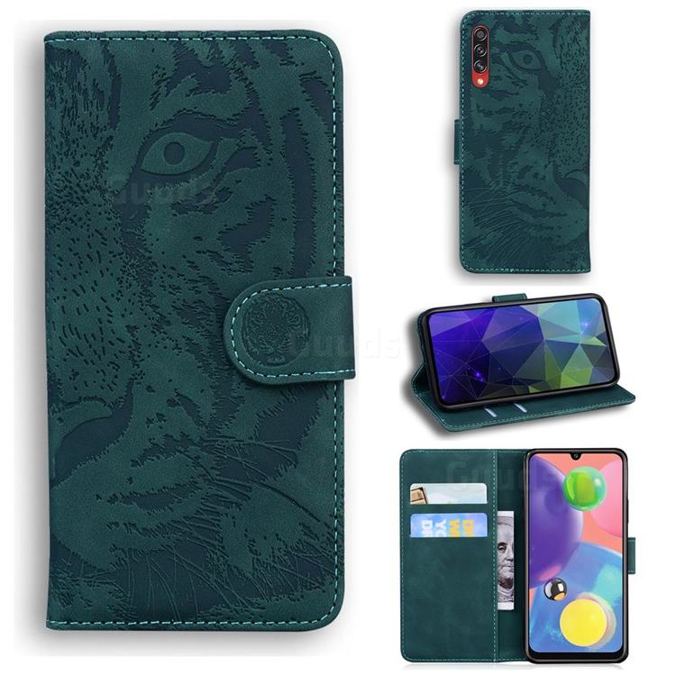 Intricate Embossing Tiger Face Leather Wallet Case for Samsung Galaxy A70 - Green