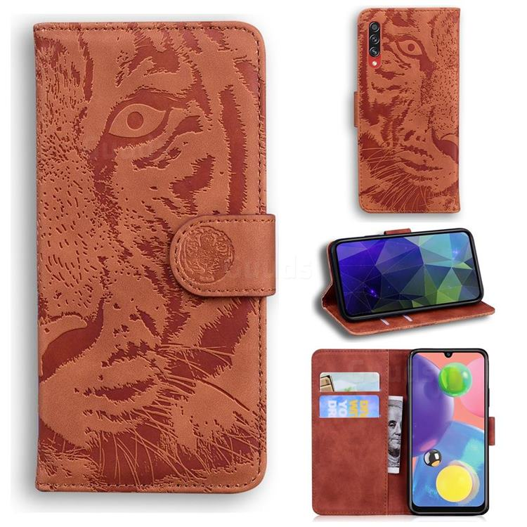 Intricate Embossing Tiger Face Leather Wallet Case for Samsung Galaxy A70 - Brown