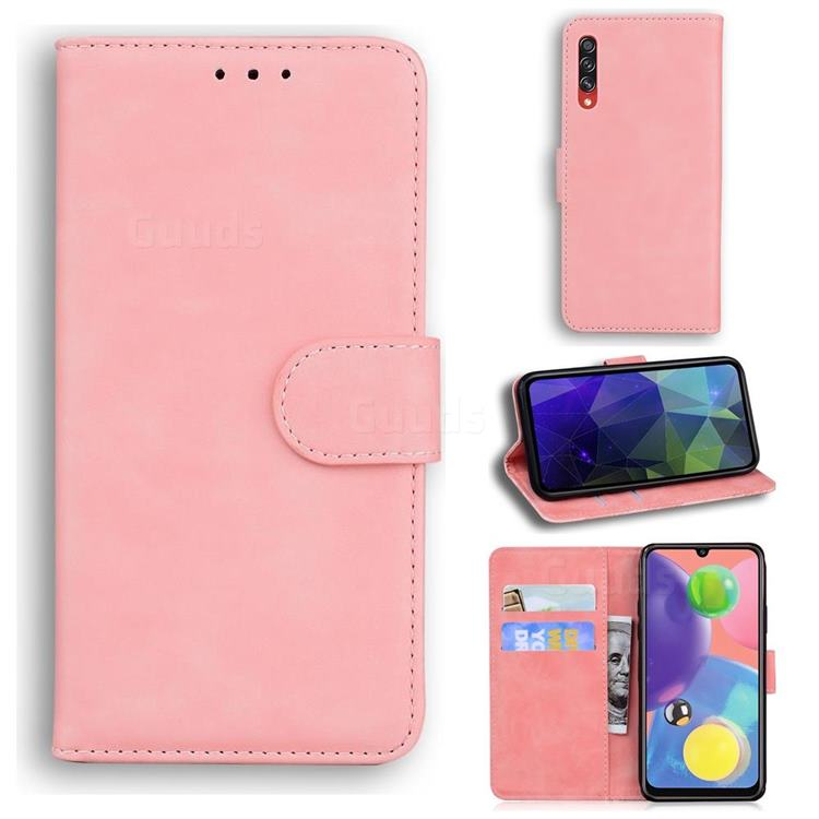 Retro Classic Skin Feel Leather Wallet Phone Case for Samsung Galaxy A70 - Pink