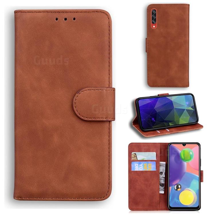 Retro Classic Skin Feel Leather Wallet Phone Case for Samsung Galaxy A70 - Brown