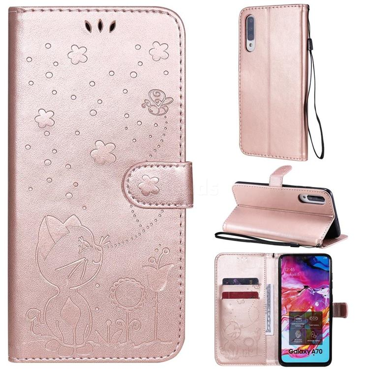 Embossing Bee and Cat Leather Wallet Case for Samsung Galaxy A70 - Rose Gold