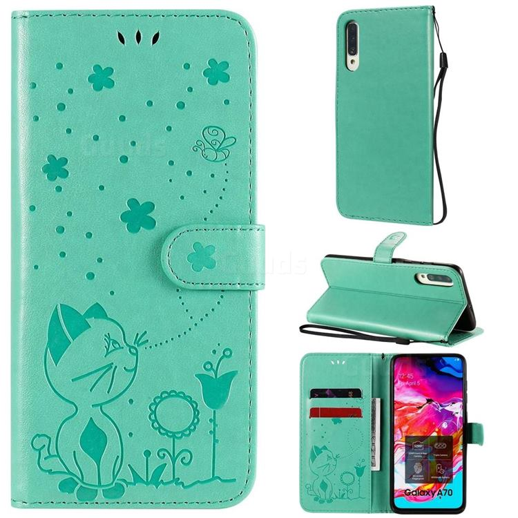 Embossing Bee and Cat Leather Wallet Case for Samsung Galaxy A70 - Green