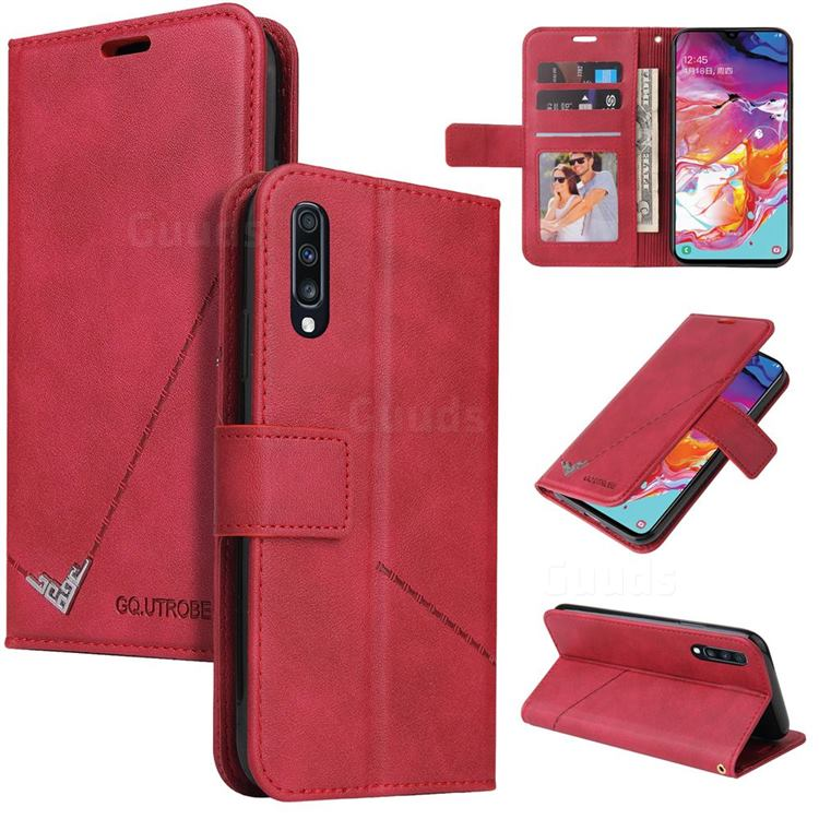 GQ.UTROBE Right Angle Silver Pendant Leather Wallet Phone Case for Samsung Galaxy A70 - Red