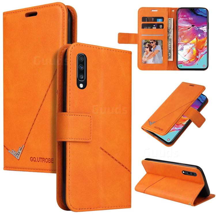 GQ.UTROBE Right Angle Silver Pendant Leather Wallet Phone Case for Samsung Galaxy A70 - Orange