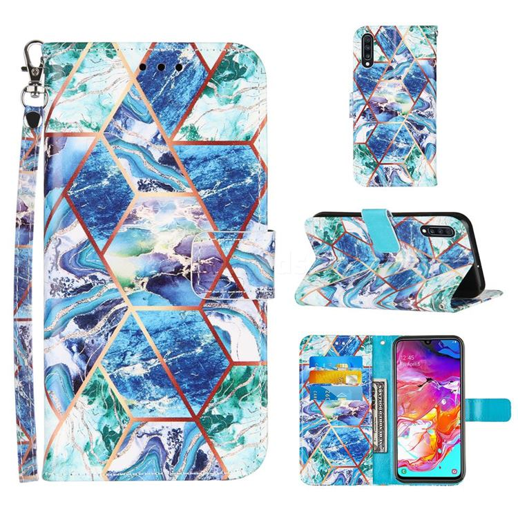 Green and Blue Stitching Color Marble Leather Wallet Case for Samsung Galaxy A70
