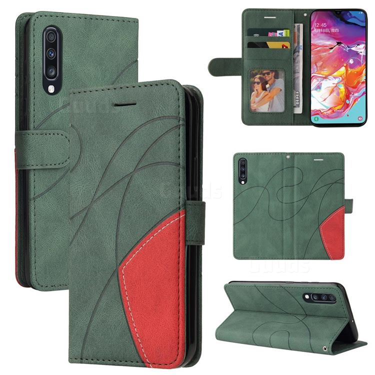 Luxury Two-color Stitching Leather Wallet Case Cover for Samsung Galaxy A70 - Green